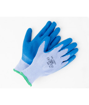 Open Back,  Blue Wrinkled Rubber on Grey Poly/cotton Liner Gloves