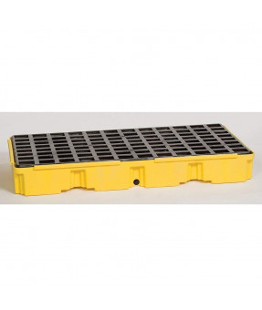 "2 Drum Spill Pallet with Drain, 26 1/4""x51 1/2""x6 1/2"" - 30 Gallon Capacity"