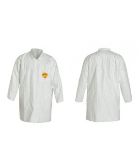 Tyvek Lab Coat, L, 2 Pocket, Snap Fron