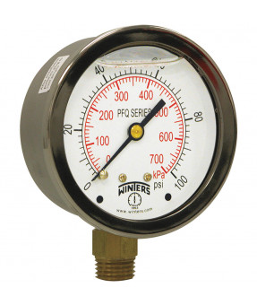 "Winters High Pressure Fluid Gauge PFQ809 - 0-1000 PSI, 1/4"" NPT"