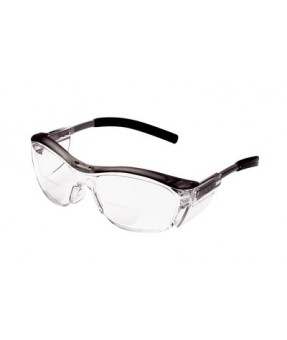 3M Nuvo Safety Glasses, Clear, With +2.5 Dipopter Reader Insert