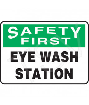 "Eyewash Station Sign, Plastic, 7"" (H) x 10"" (W), 3/16"" Mounting Holes"