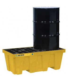 "2 Drum Yellow Environmental Spill Pallet with Drain, 49""x25""x18"" - 66 Gallon Capacity"