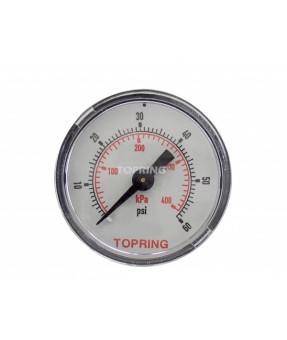 "Topring Standard Pressure Gauge 0-60 PSI, 1-1/2"" - 1/8 NPT CBM"